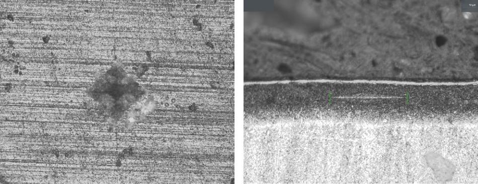 左:全陶瓷零件的10维显微镜透镜的维氏压痕表面。右:努氏压痕横截面陶瓷层40x显微镜透镜。